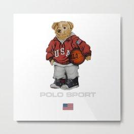 Vintage Polo Bear Metal Print
