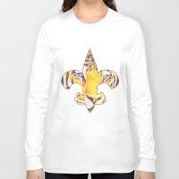 fleur de lis Long Sleeve T-shirts featuring Fleur De Lis LSU Tiger by KristinMillerArt