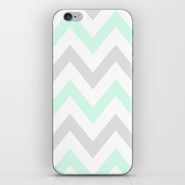 WASHED OUT CHEVRON (MINT & GRAY) iPhone Skin