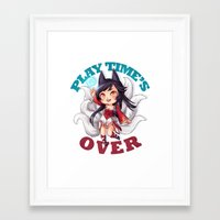 league of legends Framed Art Prints featuring League of Legends | Ahri by Kalce