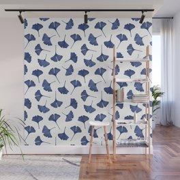 Blue Ginkgo Biloba Pattern Wall Mural