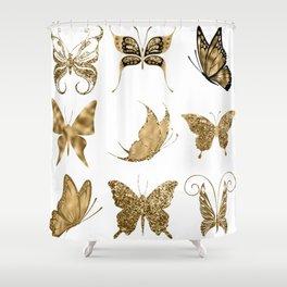 Gold Glitter Butterflies Shower Curtain