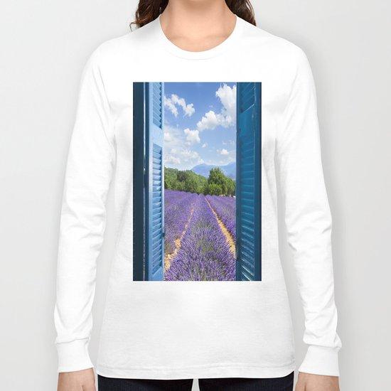 wooden shutters, lavender field Long Sleeve T-shirt