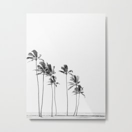 Hawaii Palm Trees - Black and White Metal Print