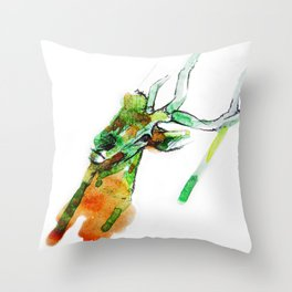 Deerface Throw Pillow