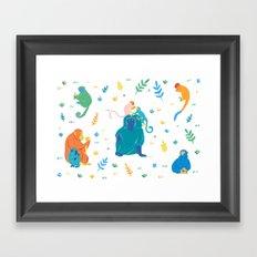 Monkey pattern Framed Art Print