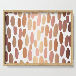Dabs metallic dot abstract minimal painting shiny copper gold art and decor Serving Tray