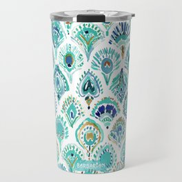 PEACOCK MERMAID Nautical Scales and Feathers Travel Mug