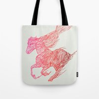 horse Tote Bags featuring Horse by Huebucket