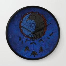 Raven Dreamcatcher Fantasy illustration Wall Clock