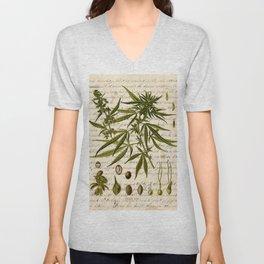 Marijuana Cannabis Botanical on Antique Journal Page Unisex V-Neck