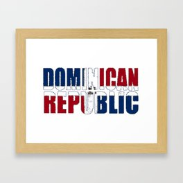 Dominican Republic Font with Dominican Flag Framed Art Print
