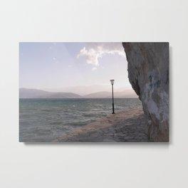Vintage lamppost I Greece, Nafplio I Rocks and Mountains I Photography Metal Print