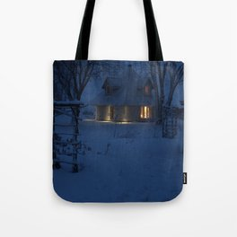 Snowy House at Dusk Tote Bag