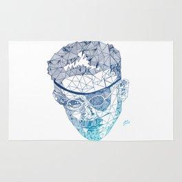 James Joyce - Hand-drawn Geometric Art Print - Blue Gradient Rug