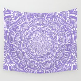 Violet Purple Mandala Detailed Ethnic Tribal Pattern Wall Tapestry