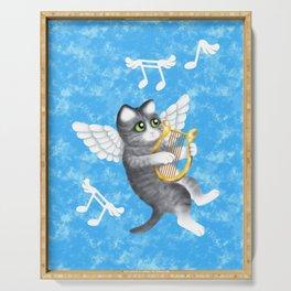 Grey Cherub Kitten Playing a Lyre Serving Tray