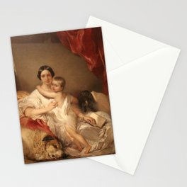 Louis Gallait - Portrait of Mrs Louis Gallait and her daughter Stationery Cards