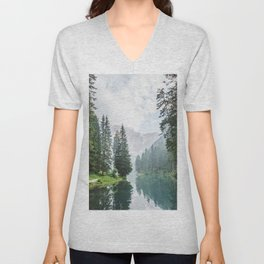 Forest Reflection in Italy Unisex V-Neck