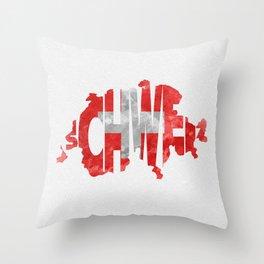 Schweiz / Switzerland Typographic Flag / Map Art Throw Pillow
