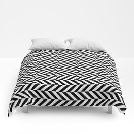 Black and White Op Art Chevron Comforters
