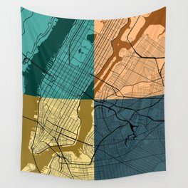 New York Colorful Street Map Wall Tapestry