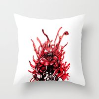carnage Throw Pillows featuring Carnage watercolor by Noel Castillo