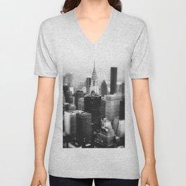 New York City  Skyline - Fog Unisex V-Neck