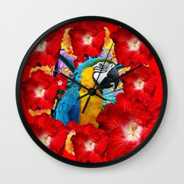 Red Hibiscus Flowers & Blue Macaw Parrot Wall Clock
