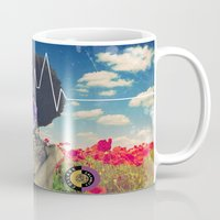 afro Mugs featuring Afro Heartbeat by Collage Calamity