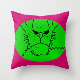 Green Lion Mouth Throw Pillow
