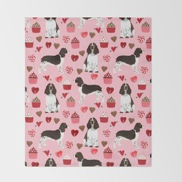English Springer Spaniel love hearts valentines day gifts for dog person pet friendly pet portrait Throw Blanket