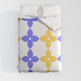 Complementary colors minimal floral pattern - purple yellow Comforters