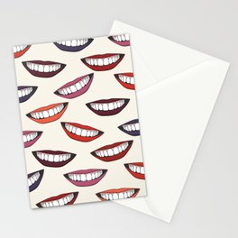 Beautiful female smile with colorful lipsticks Stationery Cards