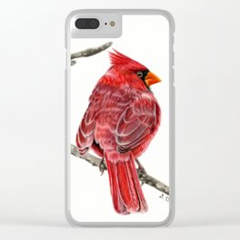 Winter Cardinal On White Clear iPhone Case