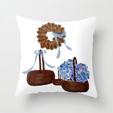 Cape Cod Hydrangeas and Baskets Throw Pillow