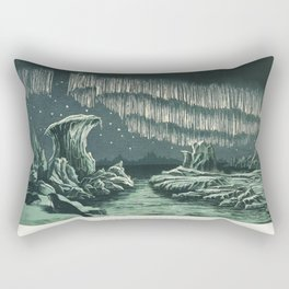 Aurora Borealis in High Latitudes from the book William MacKenzies National Encyclopedia (1891), a colored  of the beautiful polar lights in the night sky Rectangular Pillow
