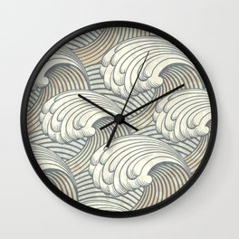 Ocean Waves Pattern Ancient Japan Art Wall Clock