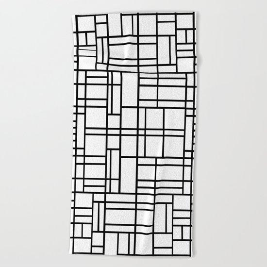 Map Outline Black on White  Beach Towel