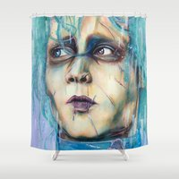 pastel goth Shower Curtains featuring Pastel Scissorhands by Anne Blondie Bengard
