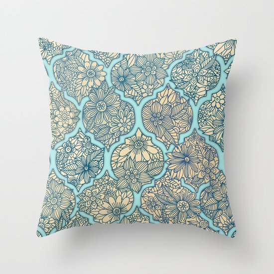 Throw Pillow Arrangement : Moroccan Floral Lattice Arrangement - aqua / teal Throw Pillow by Micklyn Society6