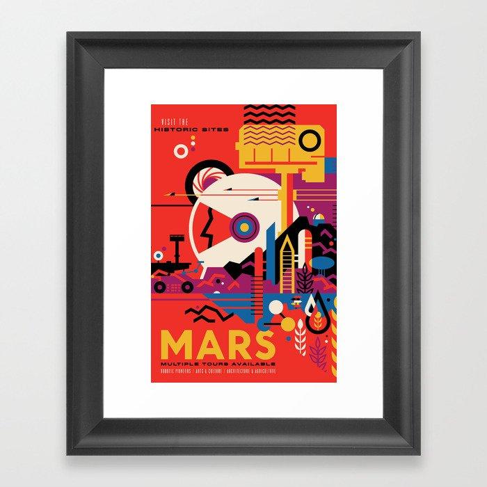 NASA Retro Space Travel Poster #9 Mars Gerahmter Kunstdruck