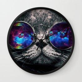 Galaxy Hipster Cat Wall Clock