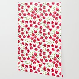 Watercolor cherries pattern Wallpaper