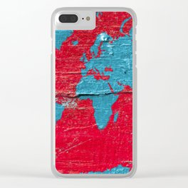 Blue and Red Milk Paint - Organic World Map Series Clear iPhone Case