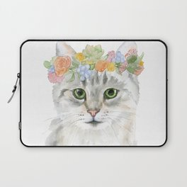 Gray Tabby Cat Floral Wreath Watercolor Laptop Sleeve