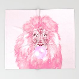Lion Chewing Bubble Gum in Pink Throw Blanket