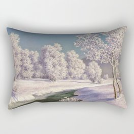 Winter Morning, After New Snow, Along the Emerald Stream by Ivan Fedorovich Choultsé Rectangular Pillow