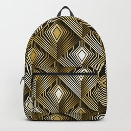Art deco golden peacock feathers Backpack