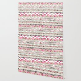 Aztec Spring Time!   Girly Pink White Floral Abstract Aztec Pattern Wallpaper